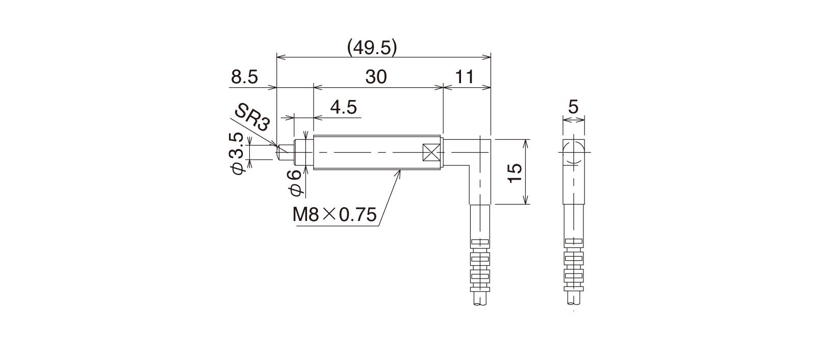 CS087A-Rの外径寸法図1