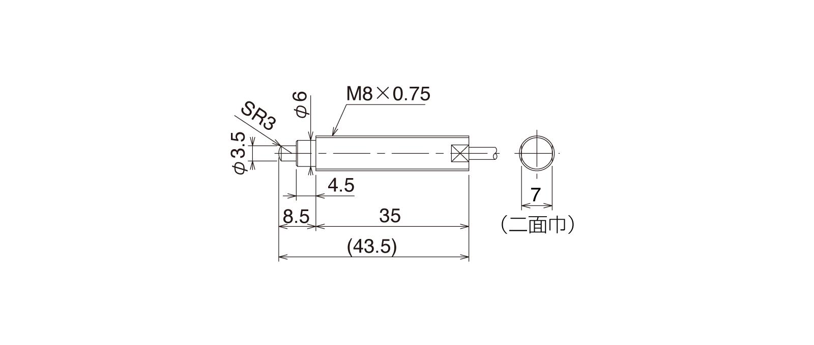 CS087A-Lの外径寸法図1
