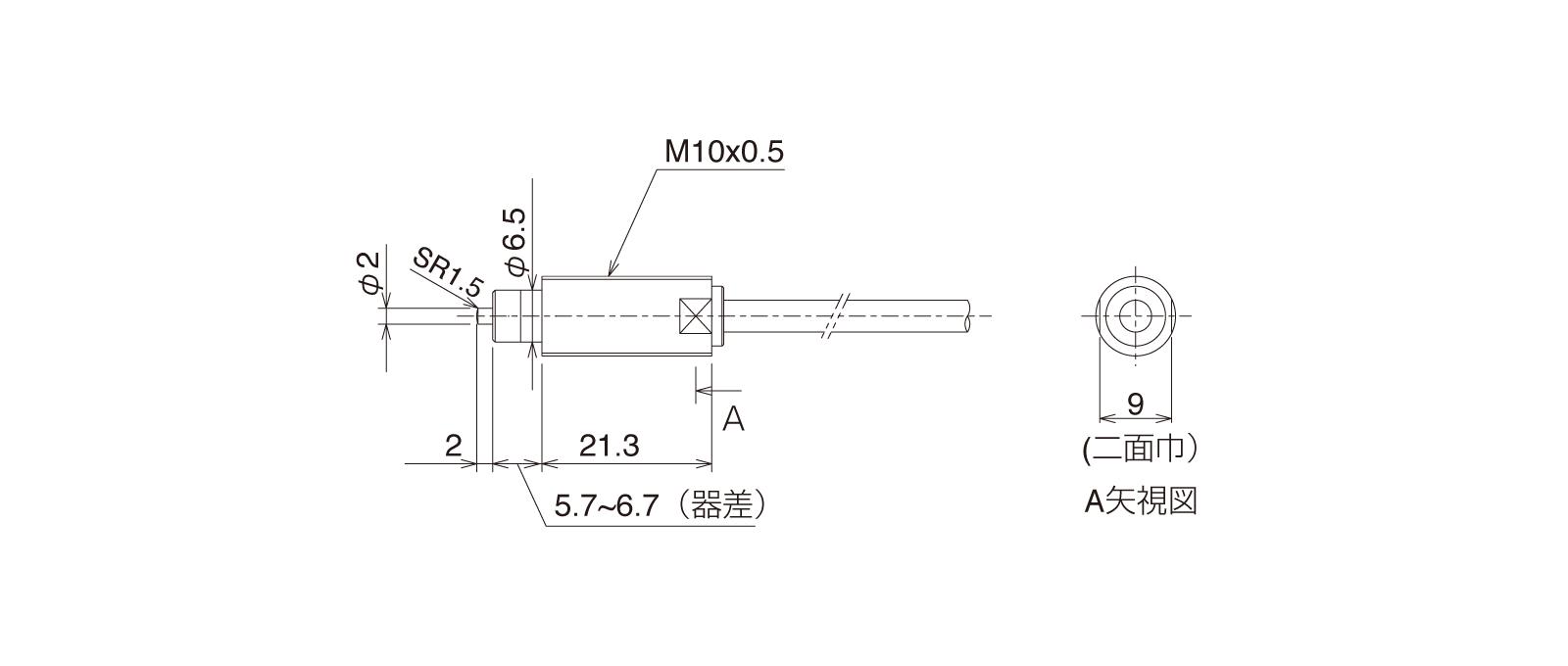 CSFN105Aの外径寸法図1