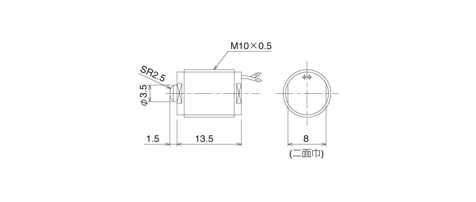 CSM105WAの外径寸法図1