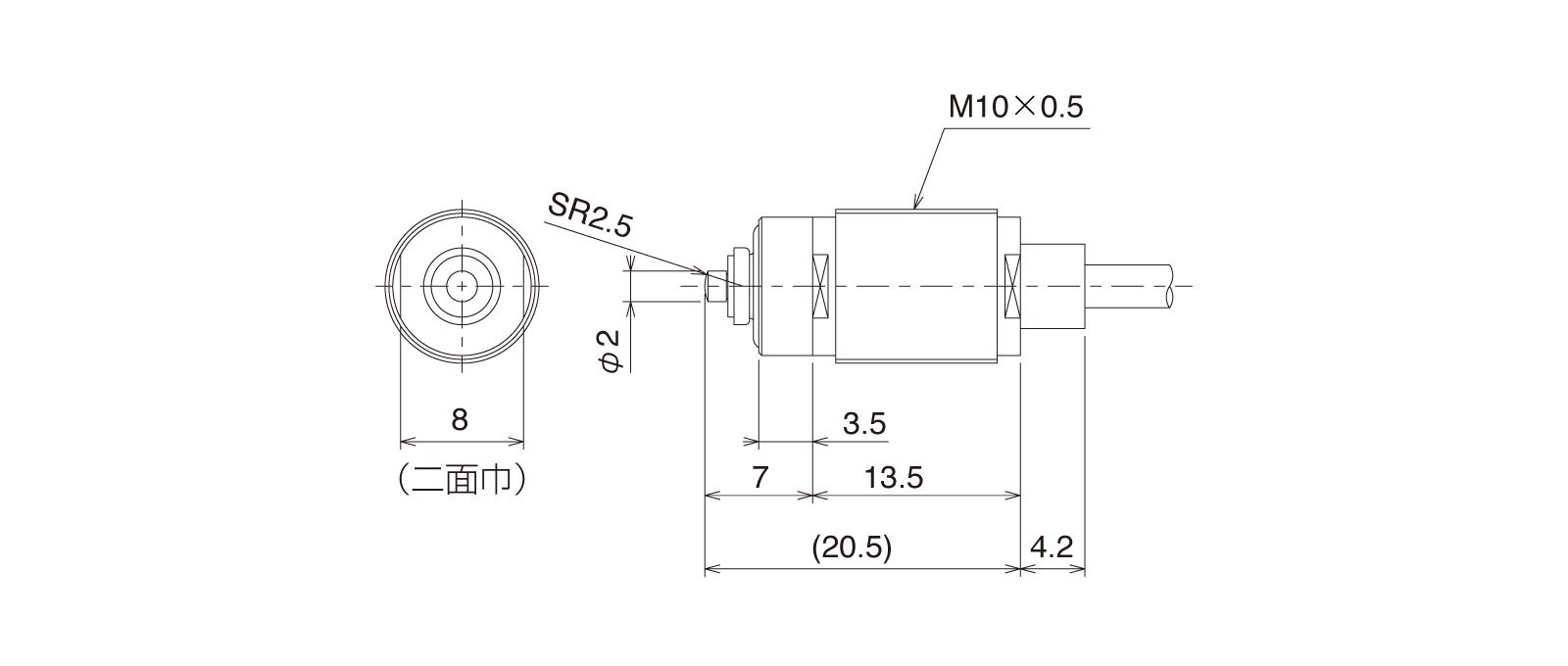 CSMP105CA-Lの外径寸法図1