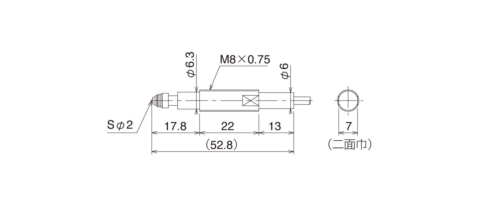 CSP087B-Aの外径寸法図1