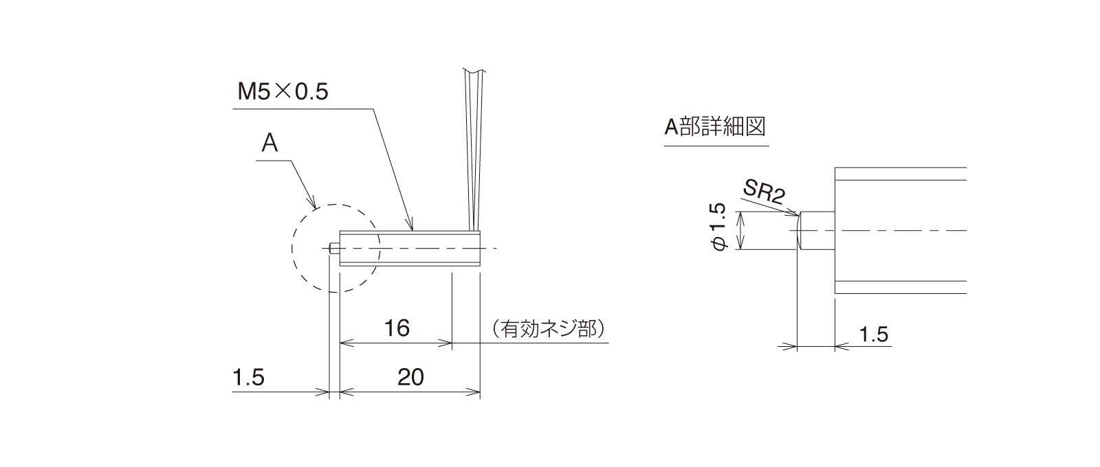 GN-PT5M3A-Rの外径寸法図1