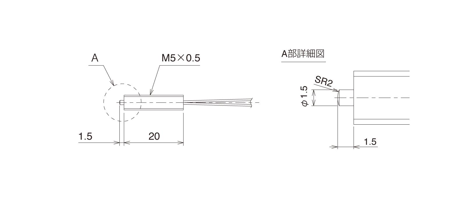 GN-PT5M3Aの外径寸法図1