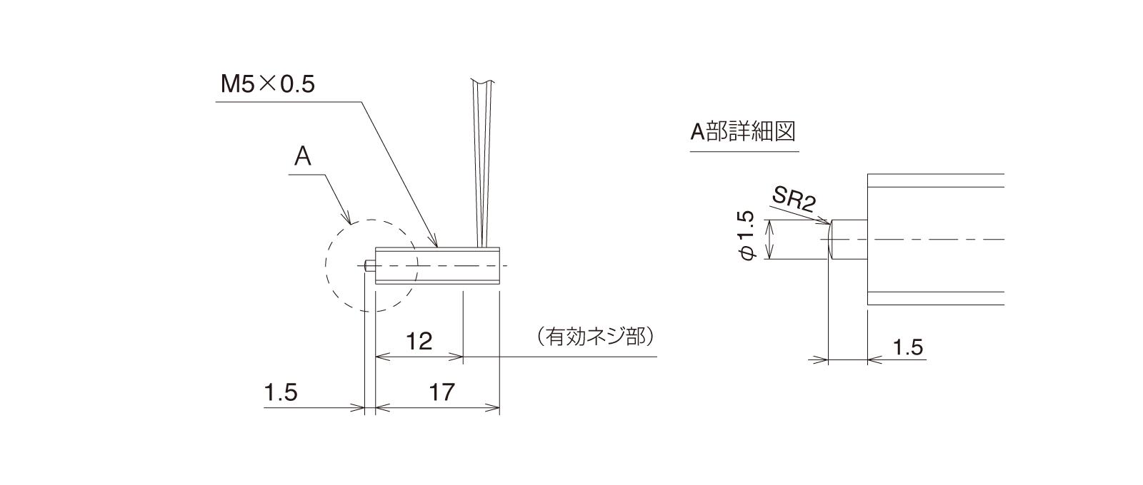 GN-PT5M3B-Rの外径寸法図1