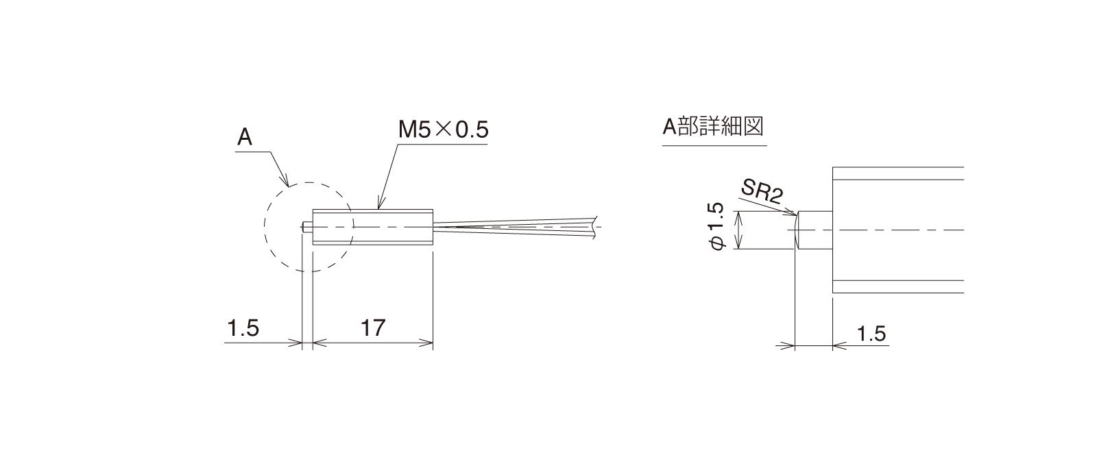 GN-PT5M3Bの外径寸法図1