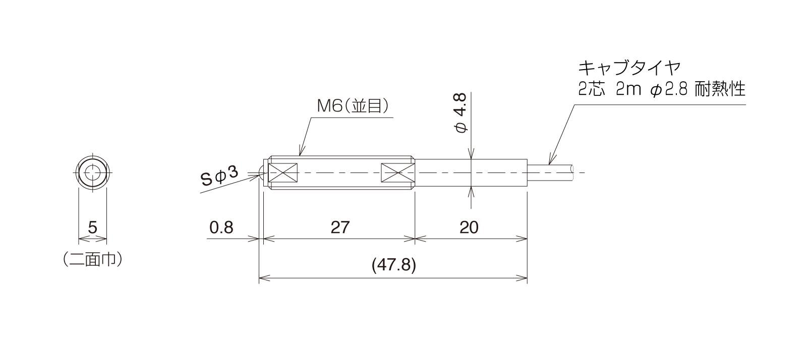 HT-BP060Aの外径寸法図1