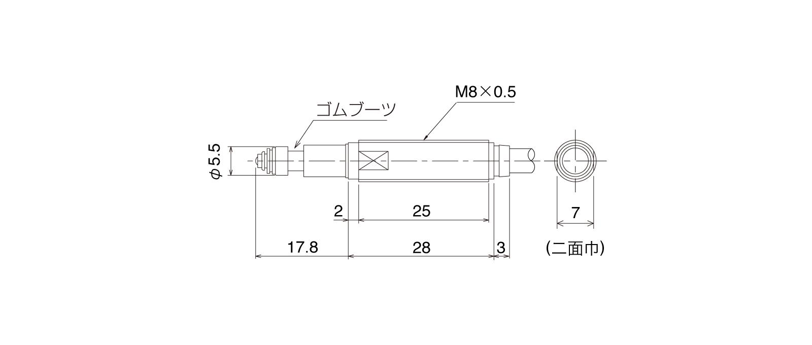 P085DB-ALの外径寸法図1