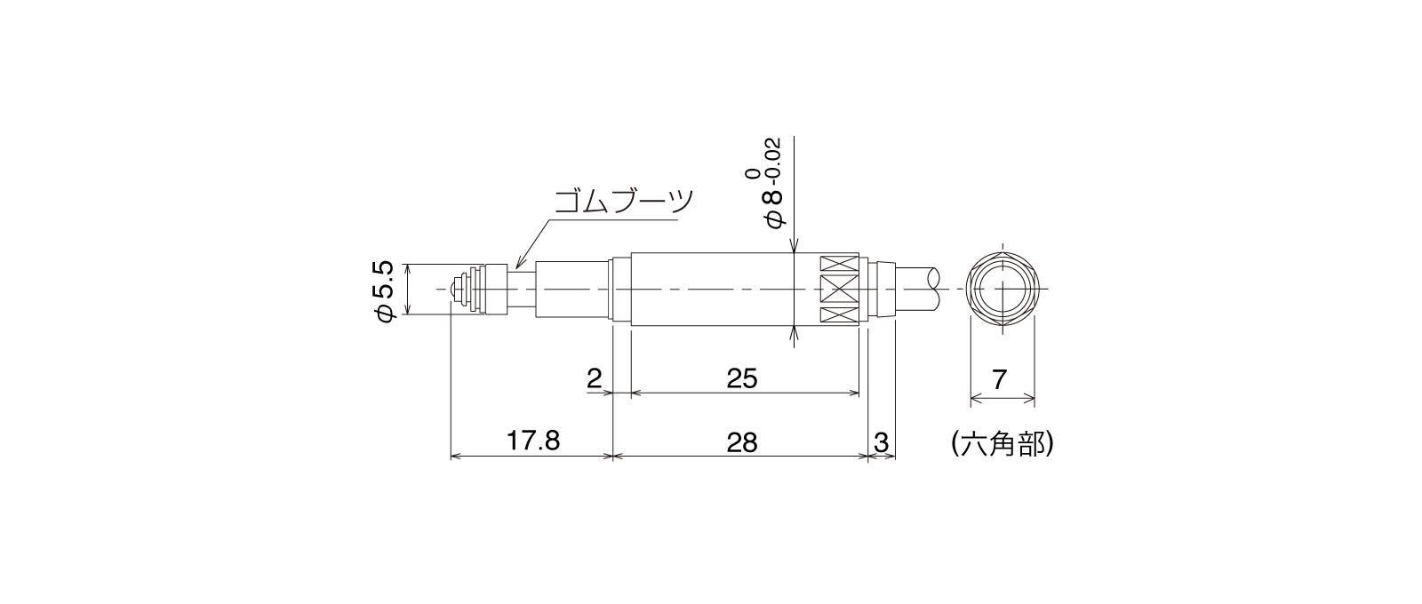 P08SB-Aの外径寸法図1
