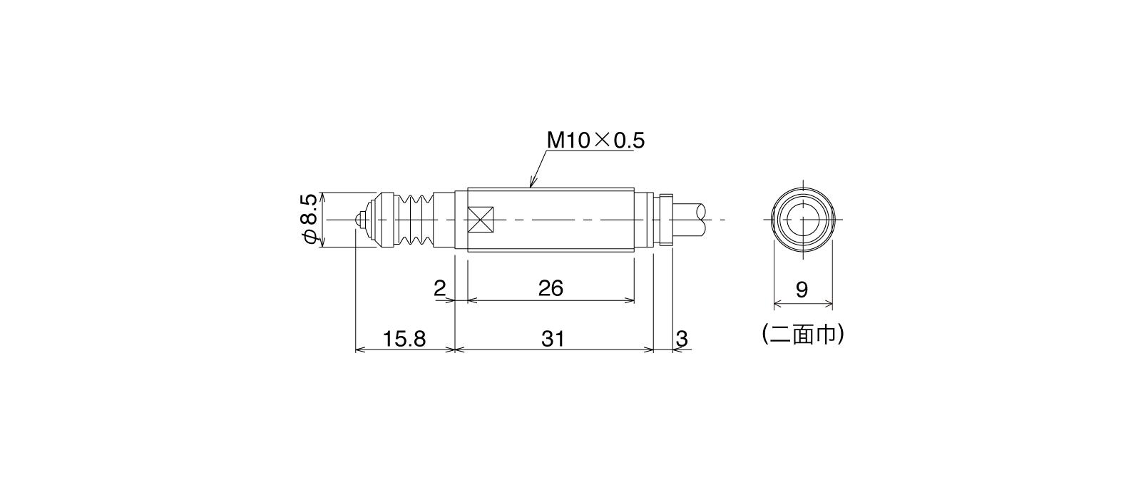 P10DA-ALの外径寸法図1