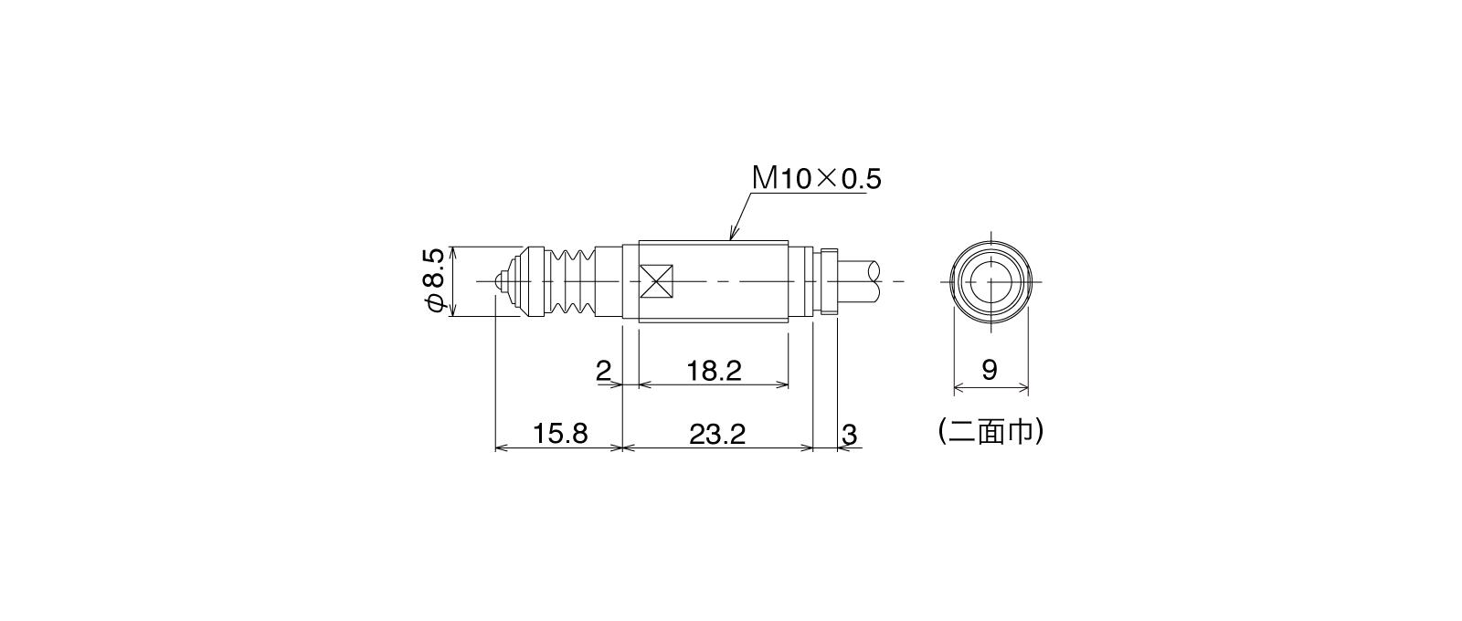 P10DB-ALの外径寸法図1