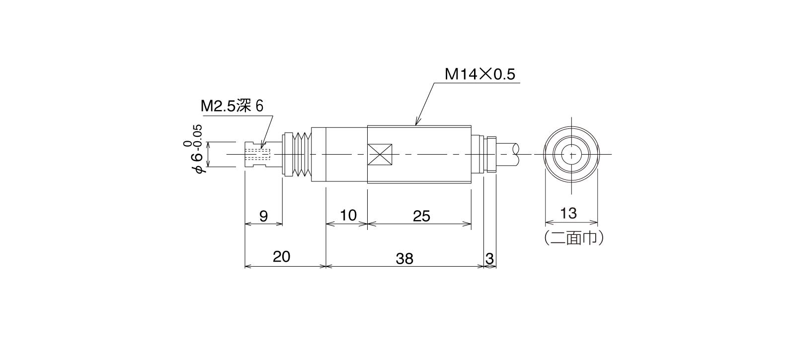 P10DHA-Tの外径寸法図1