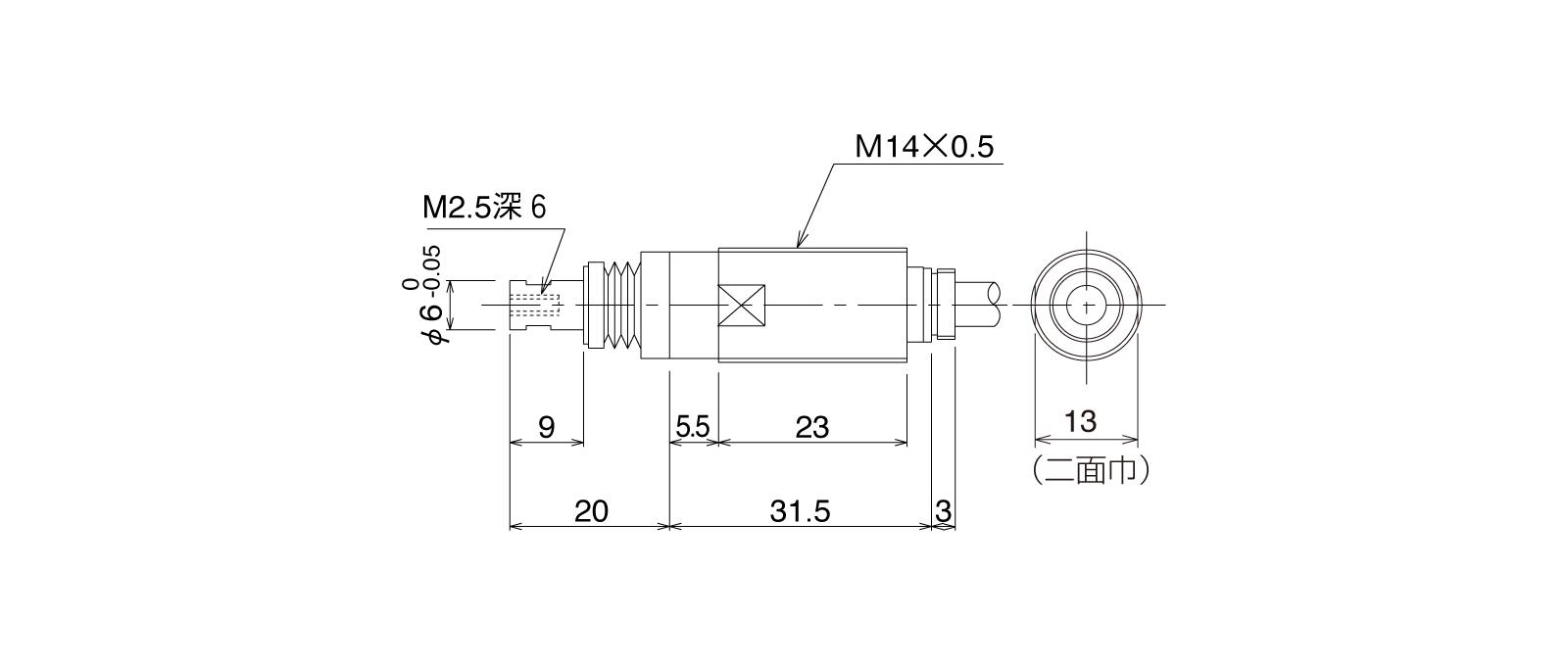 P10DHB-TLの外径寸法図1