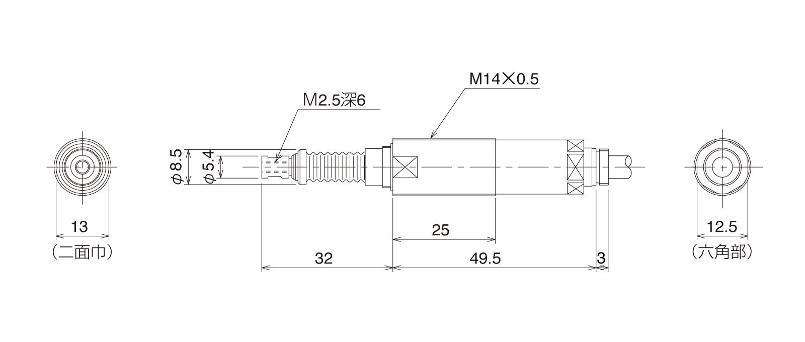 P10DHLTB-Tの外径寸法図1