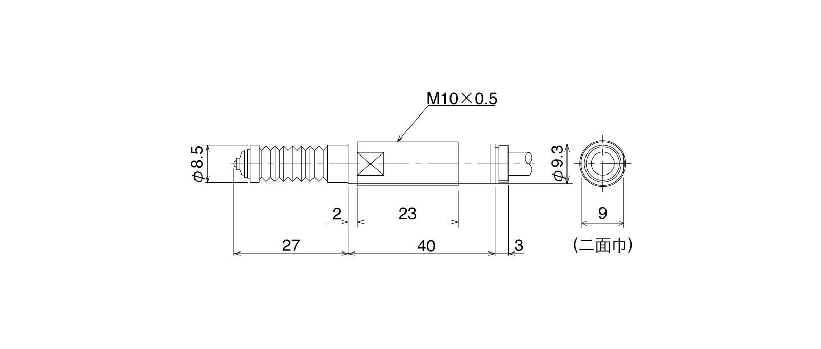 P10DLB-Aの外径寸法図1