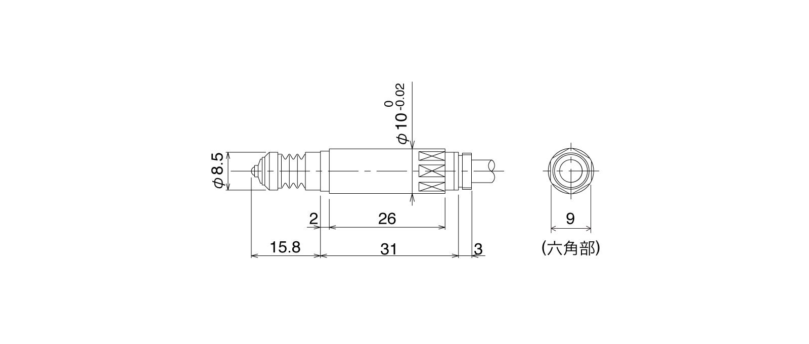 P10SA-Aの外径寸法図1