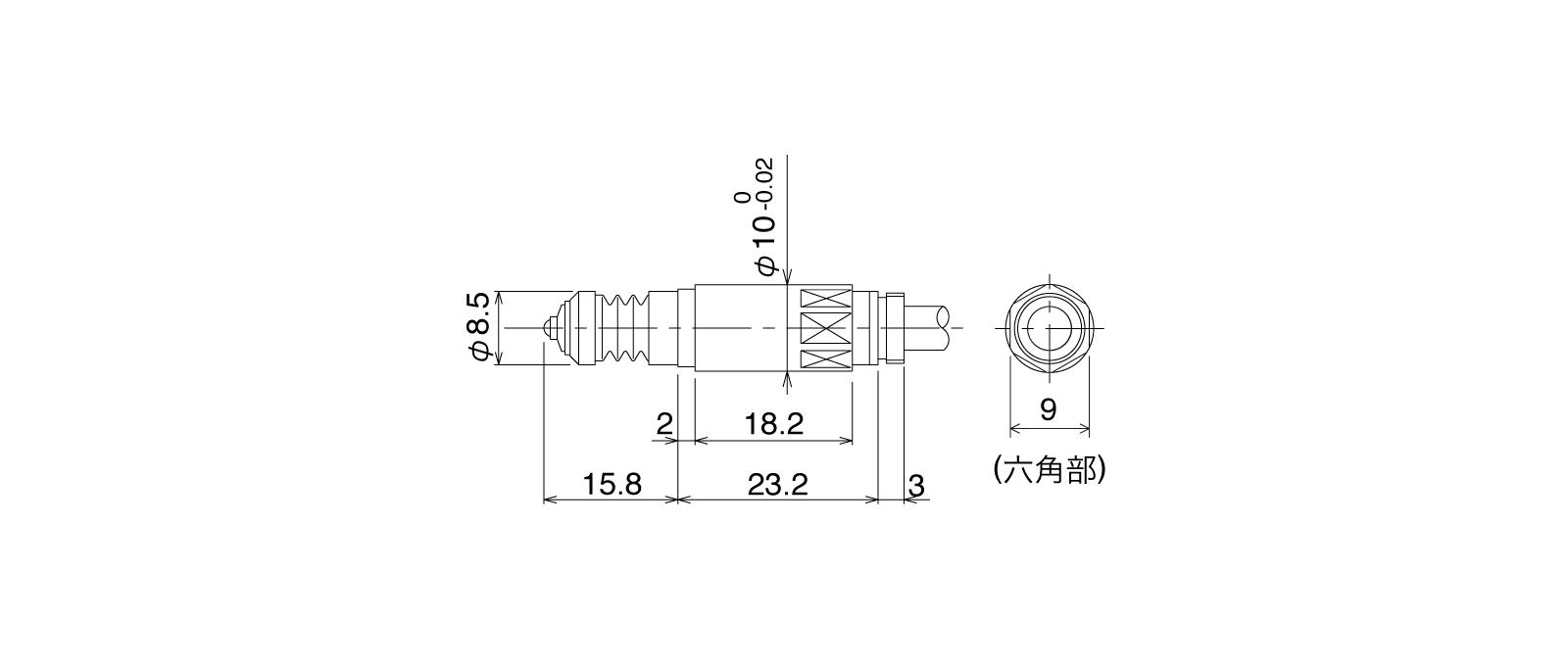 P10SB-Aの外径寸法図1