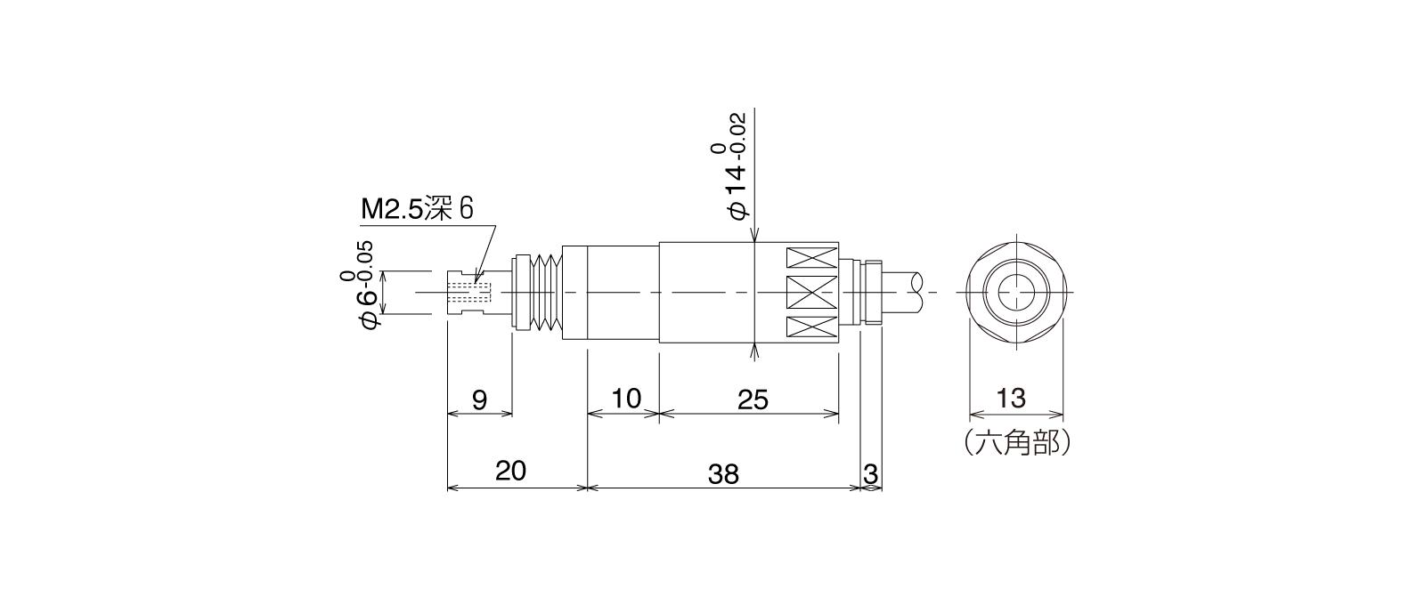 P10SHA-Tの外径寸法図1