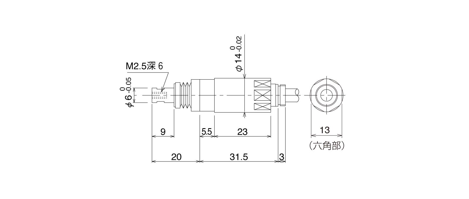 P10SHB-TLの外径寸法図1