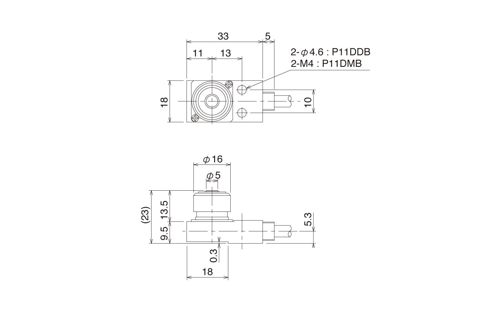 P11DDB-DULDの外径寸法図1