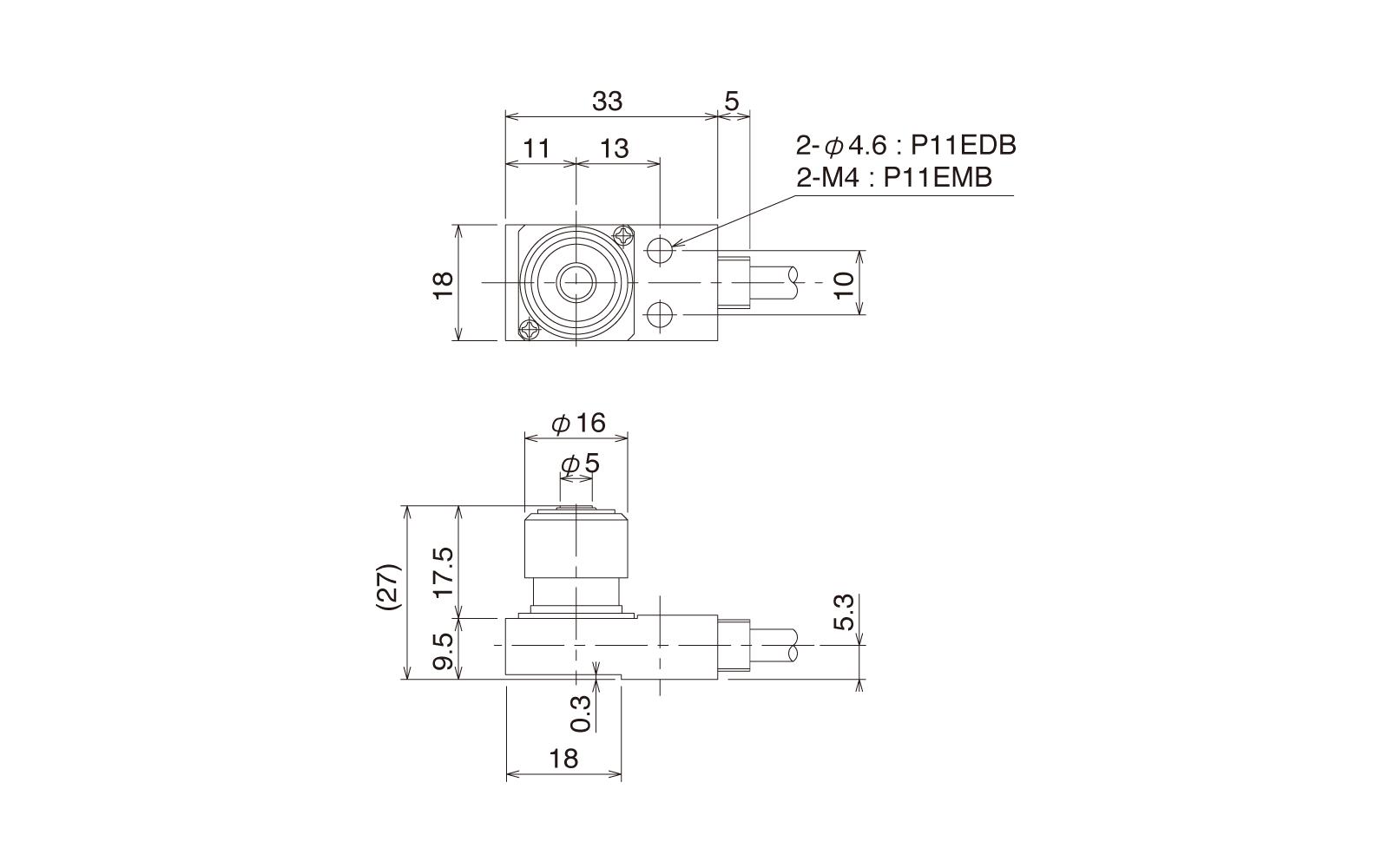 P11EMB-DUの外径寸法図1