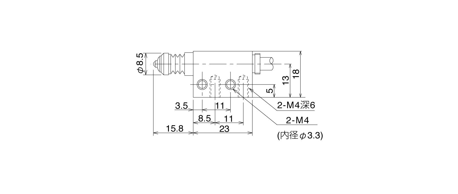 P12DB-Aの外径寸法図1