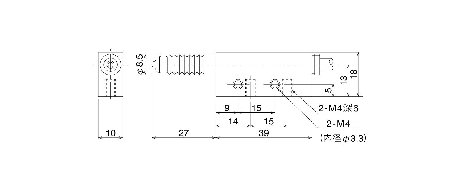 P12DLB-Aの外径寸法図1