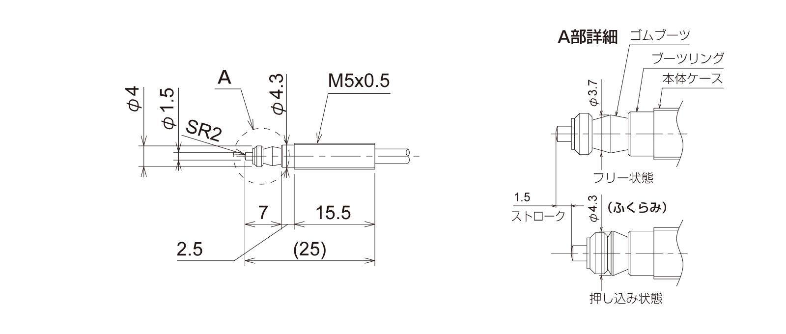 PTP5M3CBの外径寸法図1