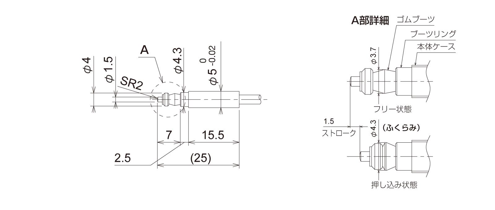 PTP5S3CB-Lの外径寸法図1