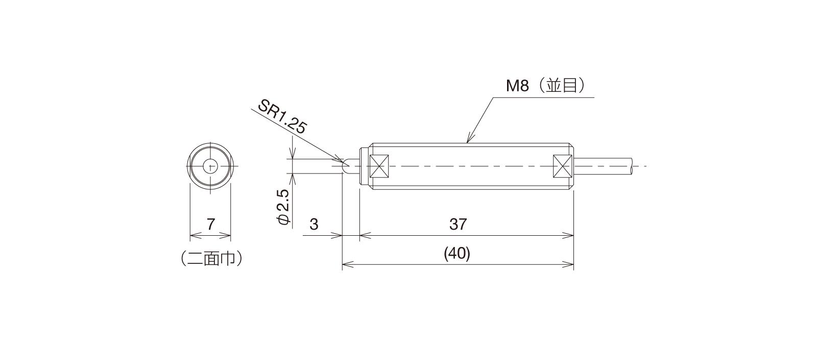 SP080Aの外径寸法図1
